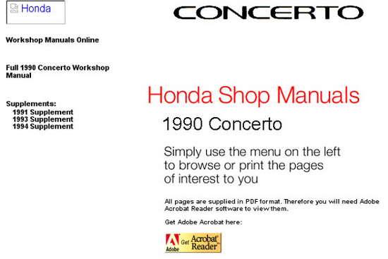 руководство по эксплуатации honda concerto